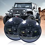 4WDKING 7 Inch LED Round Headlight, Cree High Low Beam Compatible with Wrangler 97-2017 JK TJ LJ CJ Hummber H1 H2 (Black…