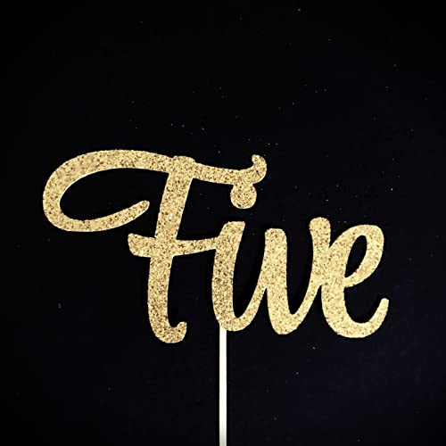 Five Cake Topper Fifth Birthday 5 5th Glitter Baby Number