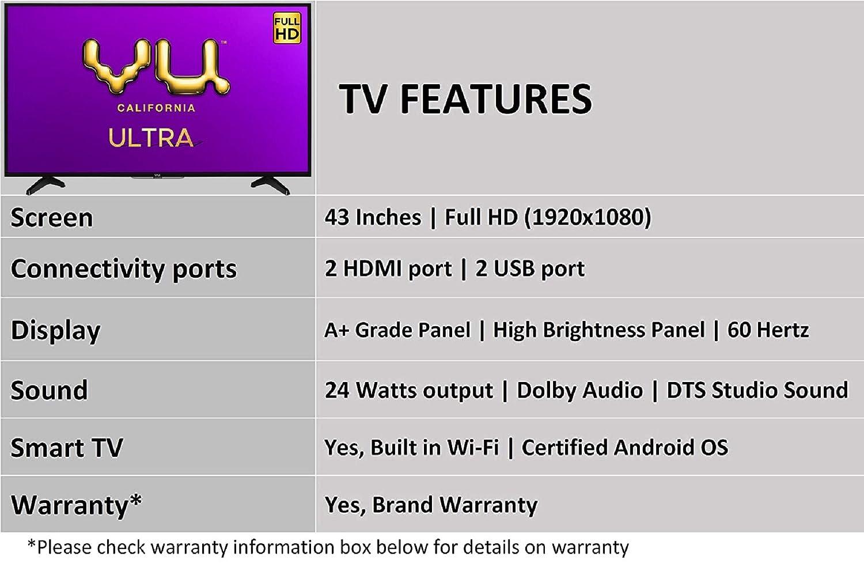 Vu 108 cm (43 inches) Full HD UltraAndroid LED TV