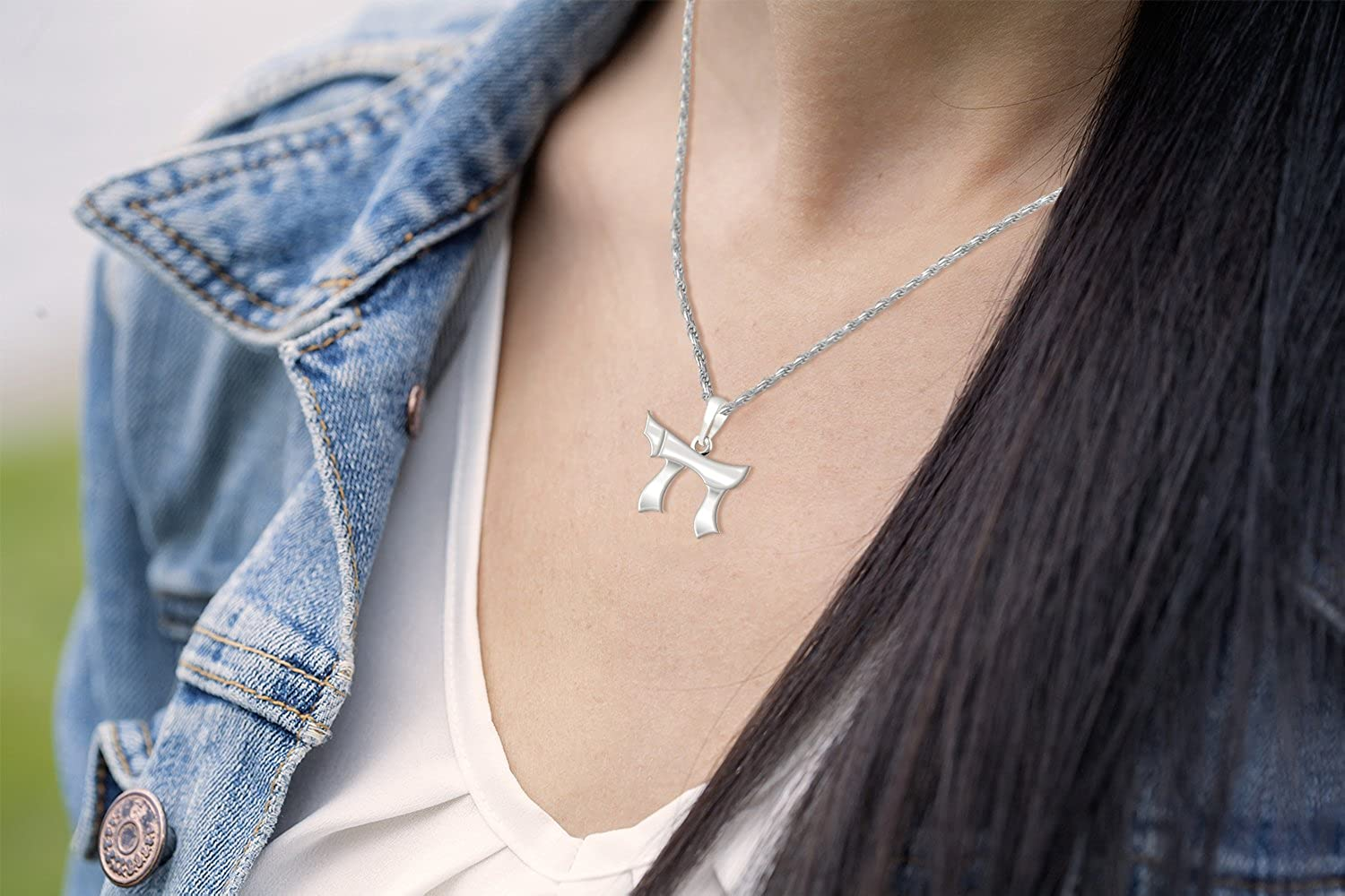 Womens 0.625in 0.925 Sterling Silver Jewish Chai Sign of Life Pendant Necklace 18in to 24in Length