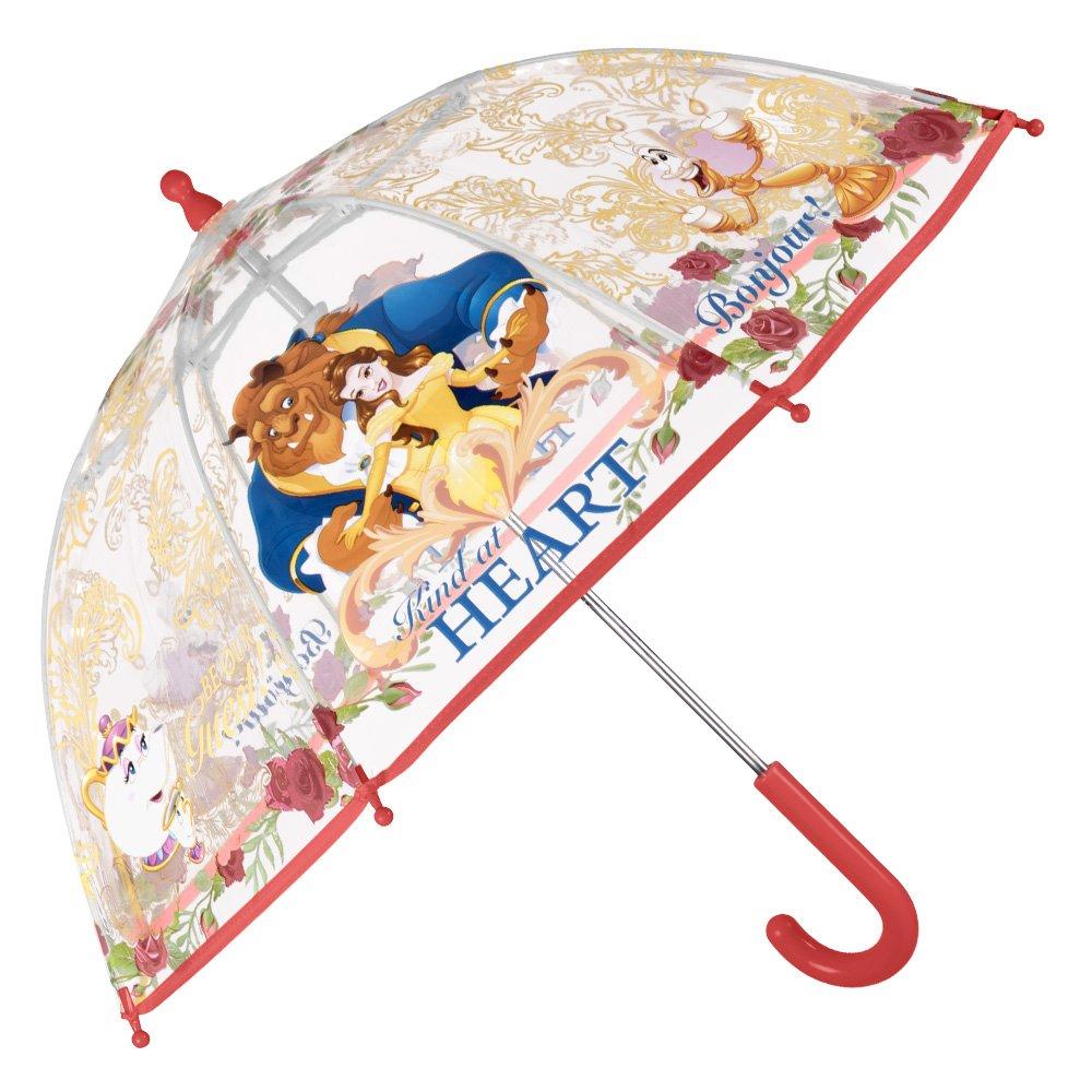 Paraguas La Bella y la Bestia - Paraguas para niñ a transparente de cú pula, resistente, antiviento y largo - Seguro, con tacos redondeados y fijos - Apertura manual de seguridad - Perletti perletti50422