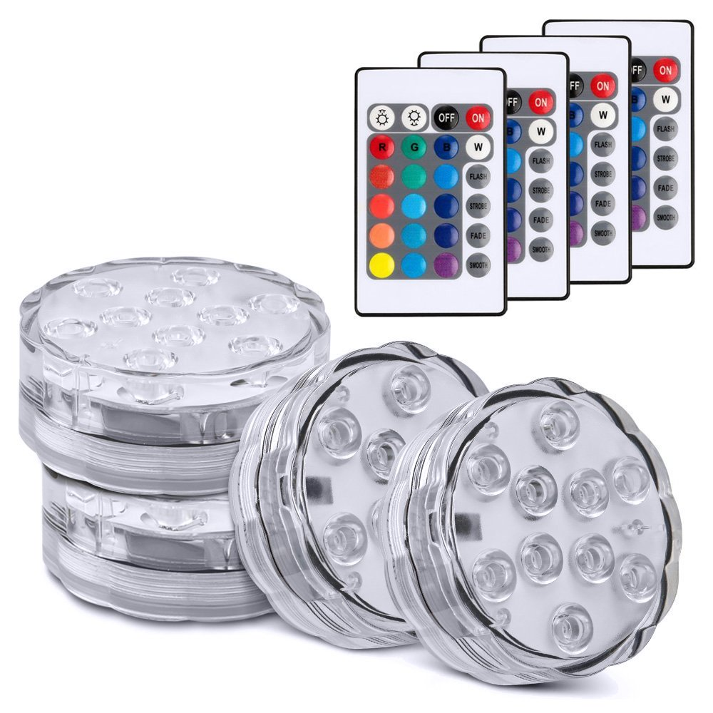 Meanhoo Waterproof Submersible 10 Leds Lights, Multicolor underwater light With IR Remote Controller for Aquarium, Fish Tank, Bar, Swimming Pool, Garden, Party, Weeding, Christmas, Halloween, 4 Pack