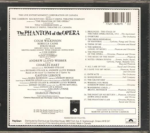 The Phantom of the Opera CD, Cast Recording