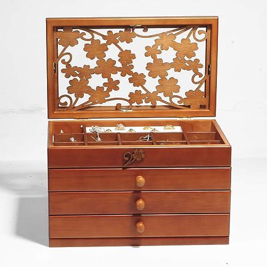 Caja Joyero 4 Pisos con 3 Cajones - De Madera Gran Capacidad Organizador De Joyerías - Bellamente Tallada Hueco Caja De Almacenamiento: Amazon.es: Hogar