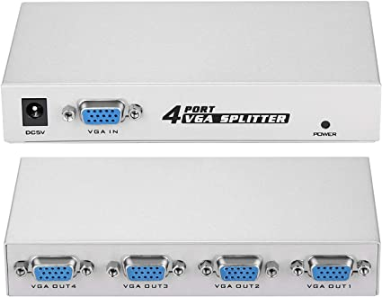 DTECH Powered 1 in 4 out VGA Video Splitter Distribution Box Signal Copy with Power Adapter 500MHz High Resolution 1080p