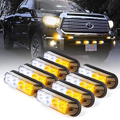 Xprite White & Amber Yellow 4 LED 4 Watt Emergency Vehicle Waterproof Surface Mount Deck Dash Grille Strobe Light Warning Police Light Head with Clear Lens - 8 Pack: Automotive