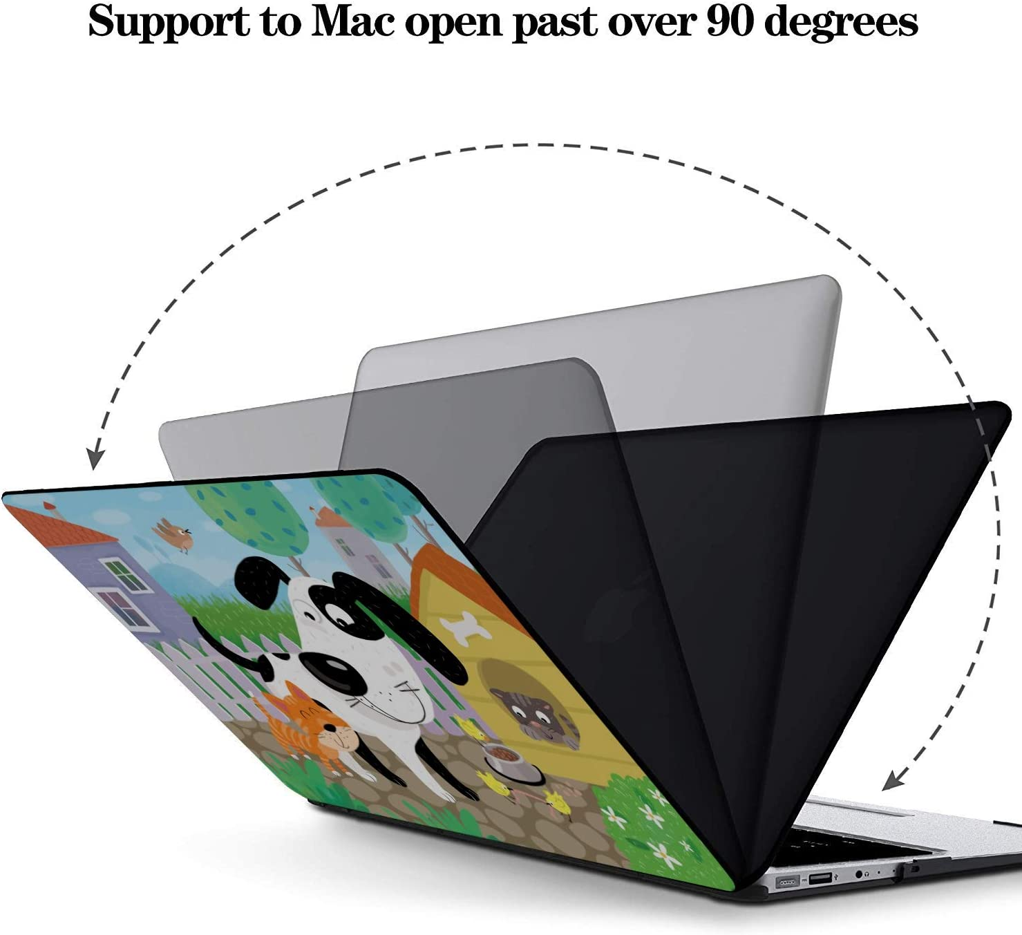 Case MacBook Air Cat and Dog Funny Face Plastic Hard Shell Compatible Mac Air 11 Pro 13 15 MacBook Air 2018 Case Protection for MacBook 2016-2019 Version