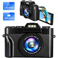 Digitalkamera Vlogging Kamera Videokamera 2,7K 30 MP 16-Facher Digitalzoom 3 Zoll 180° Flip-Screen Kompaktkamera Digitalkameras Fotoapparat Digitalkamera