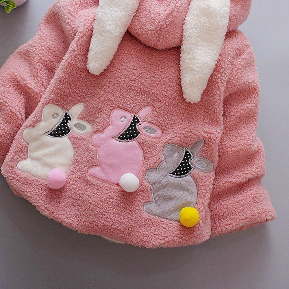 Baby Girl Rabbit Long Ear Hooded Jacket Cute Outfits Zip Up Warm Coat Cloak Long Sleeve Snowsuit Outerwear 1-3 Years Old Baby Winter Clothing