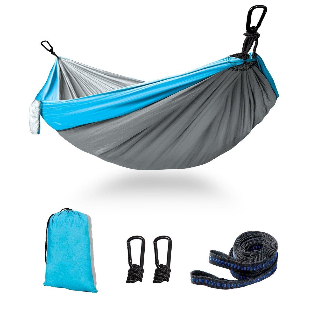 Kimfly Double Camping Hammock, Outdoor Portable Hammock 2 Adjustable Hanging Straps, Lightweight Parachute Nylon Hammock Backpacking, Hiking, Beach, Yard, Traveling