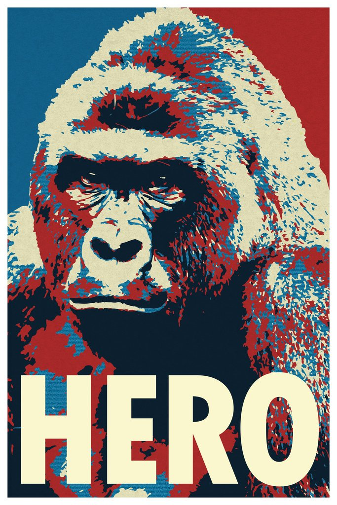 Harambe Pop Art Hero Gorilla Memorial Portrait Poster 24x36