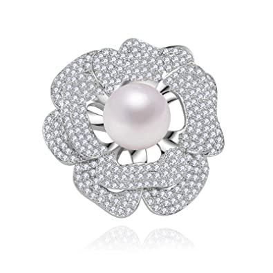 e1e39ce485a Image Unavailable. Image not available for. Color: Beydodo Pearl Brooch Pin  Gold Plated Brooches Women Wedding Flower ...