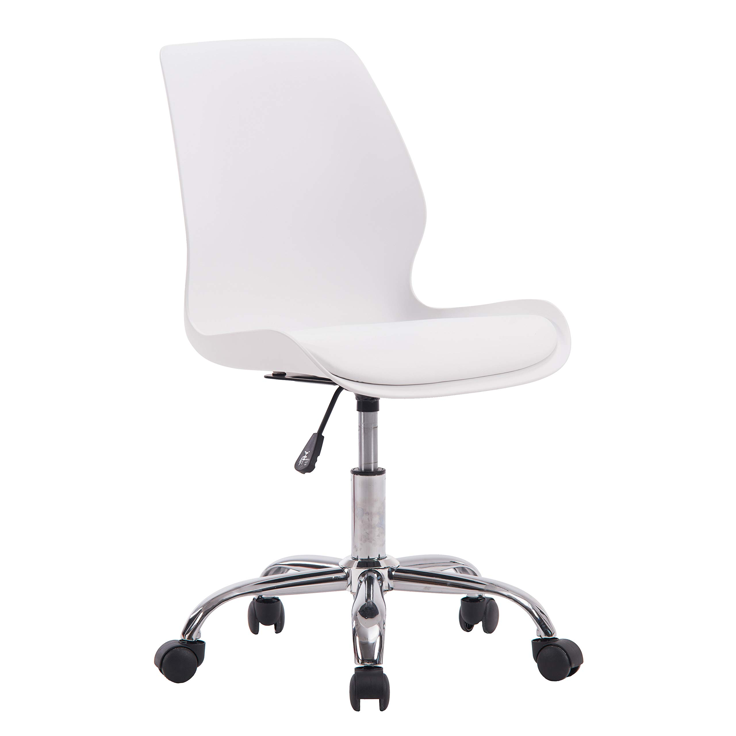 Porthos Home LVC006A WHT Adjustable Height Office Desk Chair with Wheels, Easy Assembly, White or Black, One Size