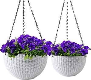 Brajttt Hanging Flower Pot Basket Set of 2 pcs, Round Garden Hanging Plastic White Pots with Drainage Holes, Suitable for All Indoor and Outdoor Plants