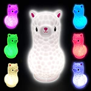 7.5 Inches Llama Kids Night Light, Portable USB Rechargeable Alpaca Night Light for Kids, Tap Colorful Cute Animal Night Light for Boys Girls Bedroom Nursery Touch Lamp