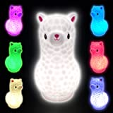 7.5 Inches Llama Kids Night Light, Portable USB Rechargeable Alpaca Night Light for Kids, Tap Colorful Cute Animal Night Ligh