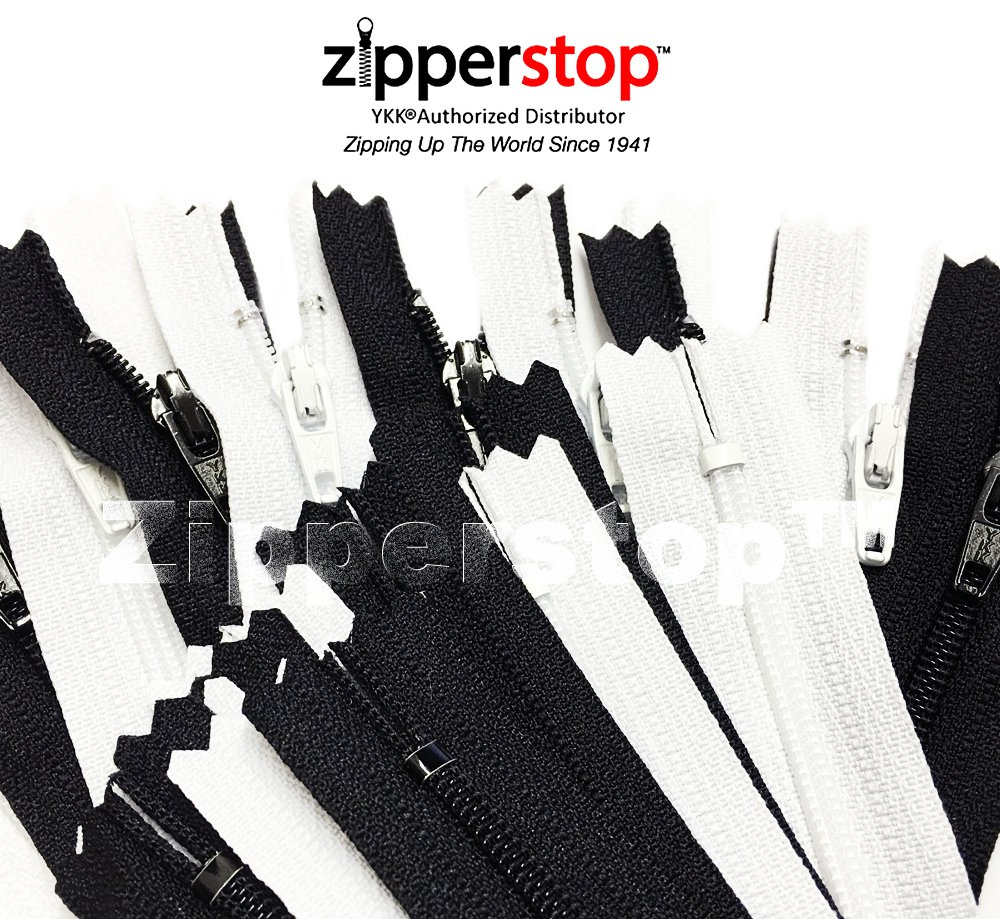Zipperstop - YKK #3 Nylon Coil Zippers closed bottom Tailor Sewer Craft Crafter's - Made in USA (9 and 10 Inch 100pcs, Assorted Colors) YKK®