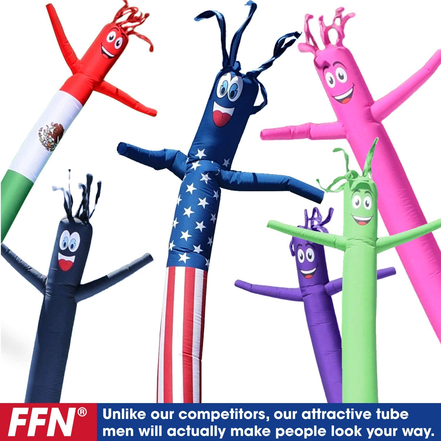 Light Green 8 Foot Tall Inflatable Tube Man Air Powered Waving Puppet Air Blower Motor Included with 6 Foot Solid Colored Dancer by Feather Flag Nation