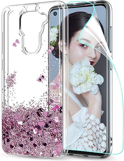 Cover Per Xiaomi Redmi Note 8T Silicone Gel TPU Rosa Con Brillanti Purpurina