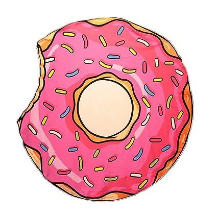 Les Trésors de Lily Q0815 - Toalla de Playa de Diseño Donuts Rosa -