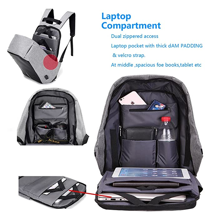 Amazon.com: Pmallcity Anti Theft Laptop Backpack, Business Water Resistant Laptop Bag with USB Charging Port, Travel Rucksack for Men & Women College ...