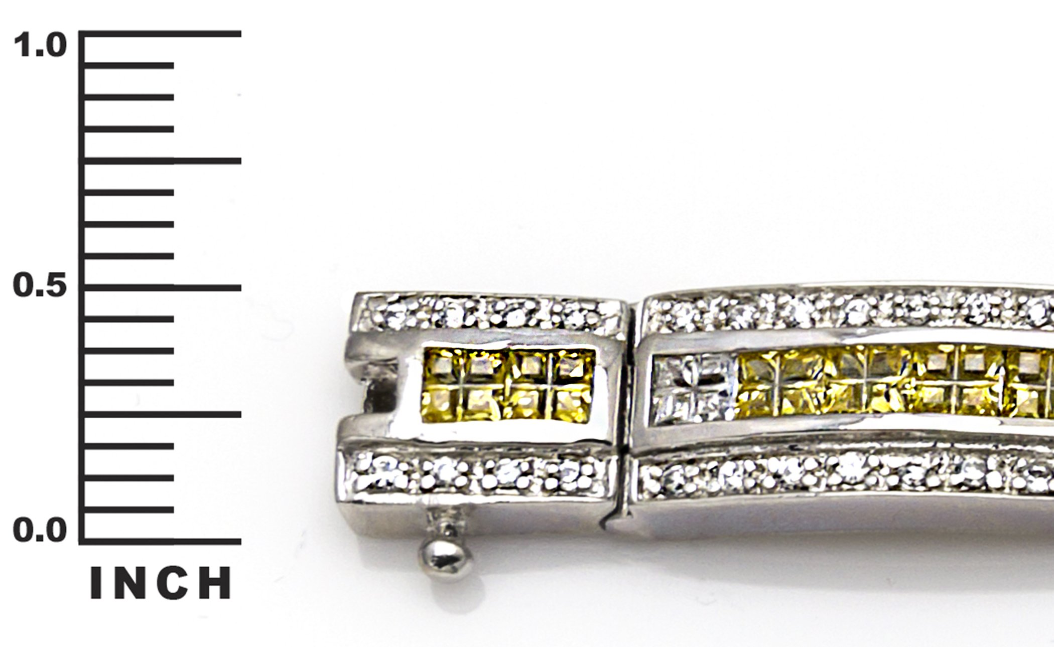 Men's Sterling Silver .925 Bracelet with Canary Yellow, Azure Blue and White Cubic Zirconia (CZ) Stones, Box Lock, Platinum Plated. 8'' or 9'' By Sterling Manufacturers by Sterling Manufacturers (Image #6)