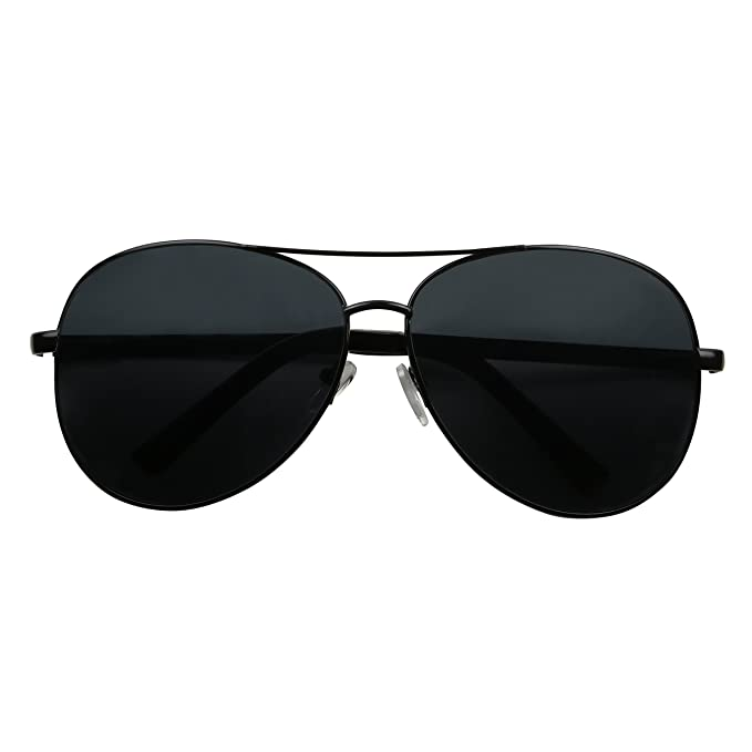 8d68e3dfb5 Amazon.com  ShadyVEU - Classic Extra Large Wide Frame Metal Aviator Casual  Oversize Sunglasses (Black Frame Black Lens