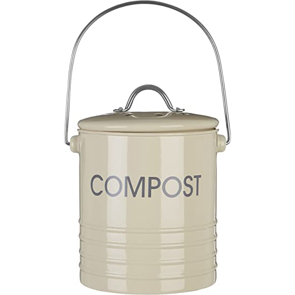 Premier Housewares Compost Bin with Handle - Cream