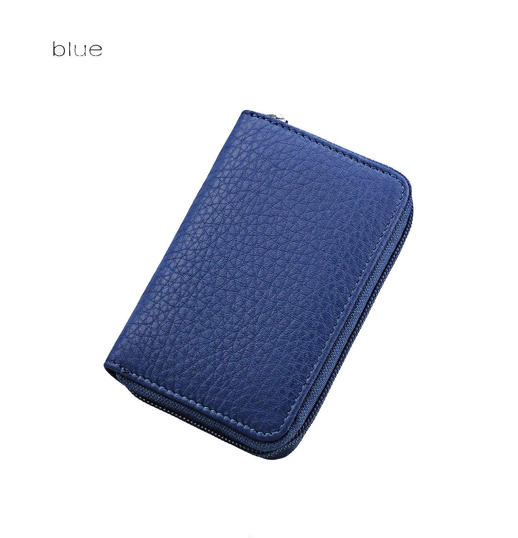 bluee Sheep Brand Business Women Card Holder Cards Men Card Pack Real Leather Cardholder Zipper Credit Card Holder By 26 Slots,Black