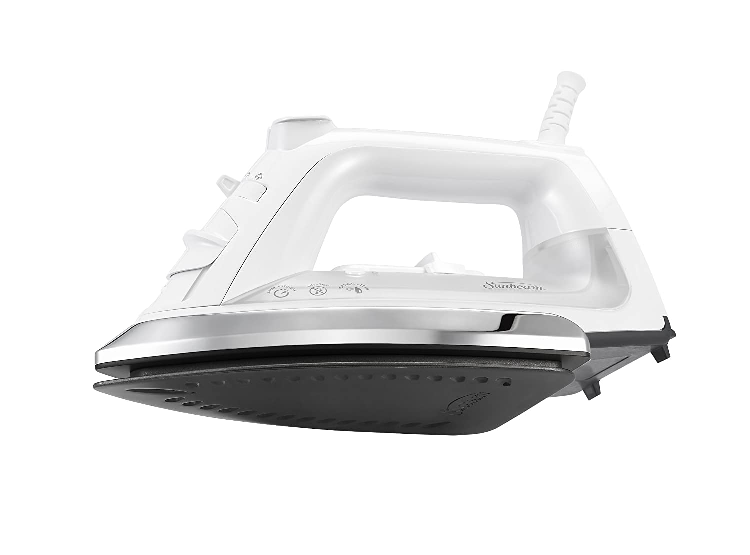 Sunbeam Classic 1200 Watt Mid-size Anti-Drip Non-Stick Soleplate Iron with Shot of Steam Vertical Shot feature and 8 360-degree Swivel Cord, White Clear, GCSBCL-317-000