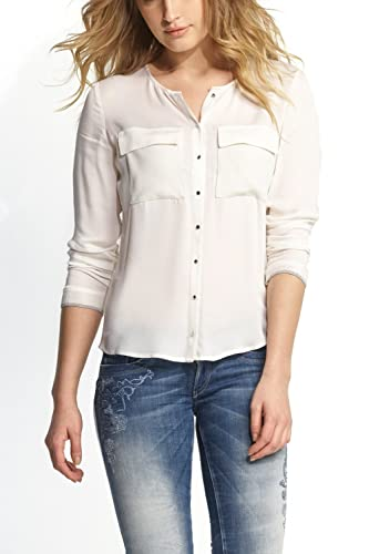 Salsa Blusa de manga larga, sin red de cuello, dos bolsillos delanteros, insertos de plástico–Mujer Blanco Weiß