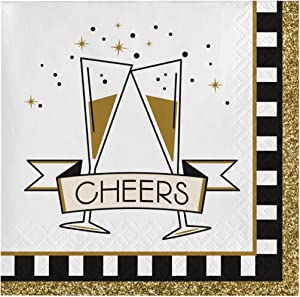Creative Converting 16 Count Paper Beverage Napkins, Midnight Celebration