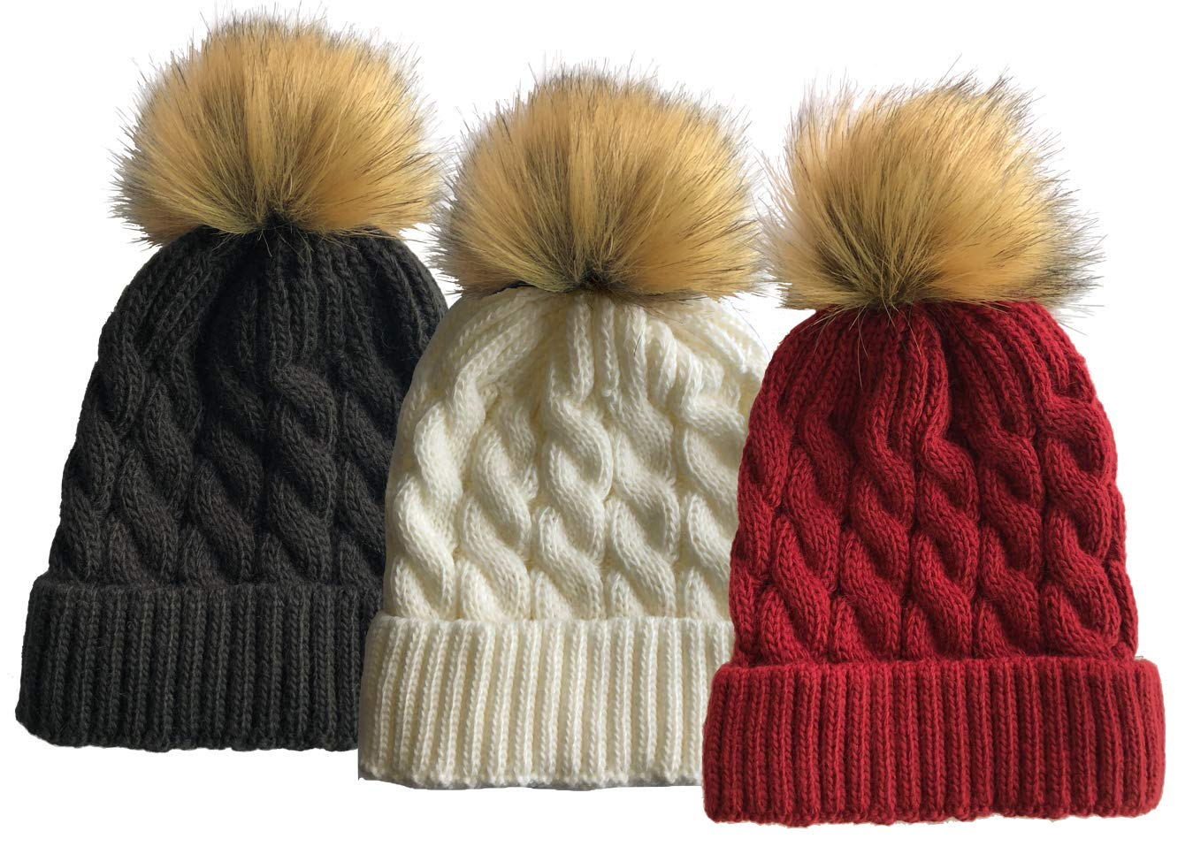 SOFT GRIP Women Cable Knit Slouchy Thick Winter Hat Beanie Pom Pom (Black & White & Burgundy (3 Pack))
