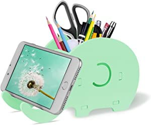 COOLOO Pencil Holder Cell Phone Stand, Cute Elephant Office Accessories Tablet Desk Bracket Compatible with iPhone iPad Smartphone, Desk Decoration Multifunctional Stationery Box Organizer.