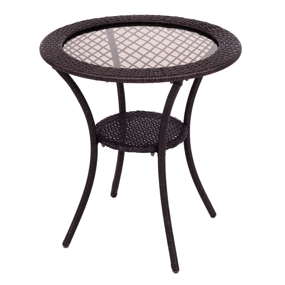 Round Rattan Wicker Coffee Table Glass Top Steel Frame Patio Furniture W/  Shelf
