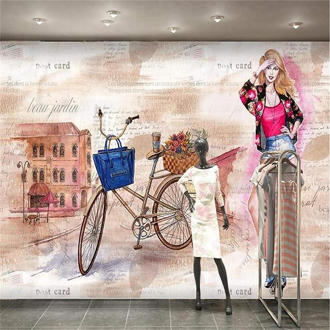 zyyaky Papel Pintado Acuarela Pintada A Mano Moda Belleza Bicicleta Chica Tienda Fondo Pared Sala De Estar Murales 3D: Amazon.es: Hogar