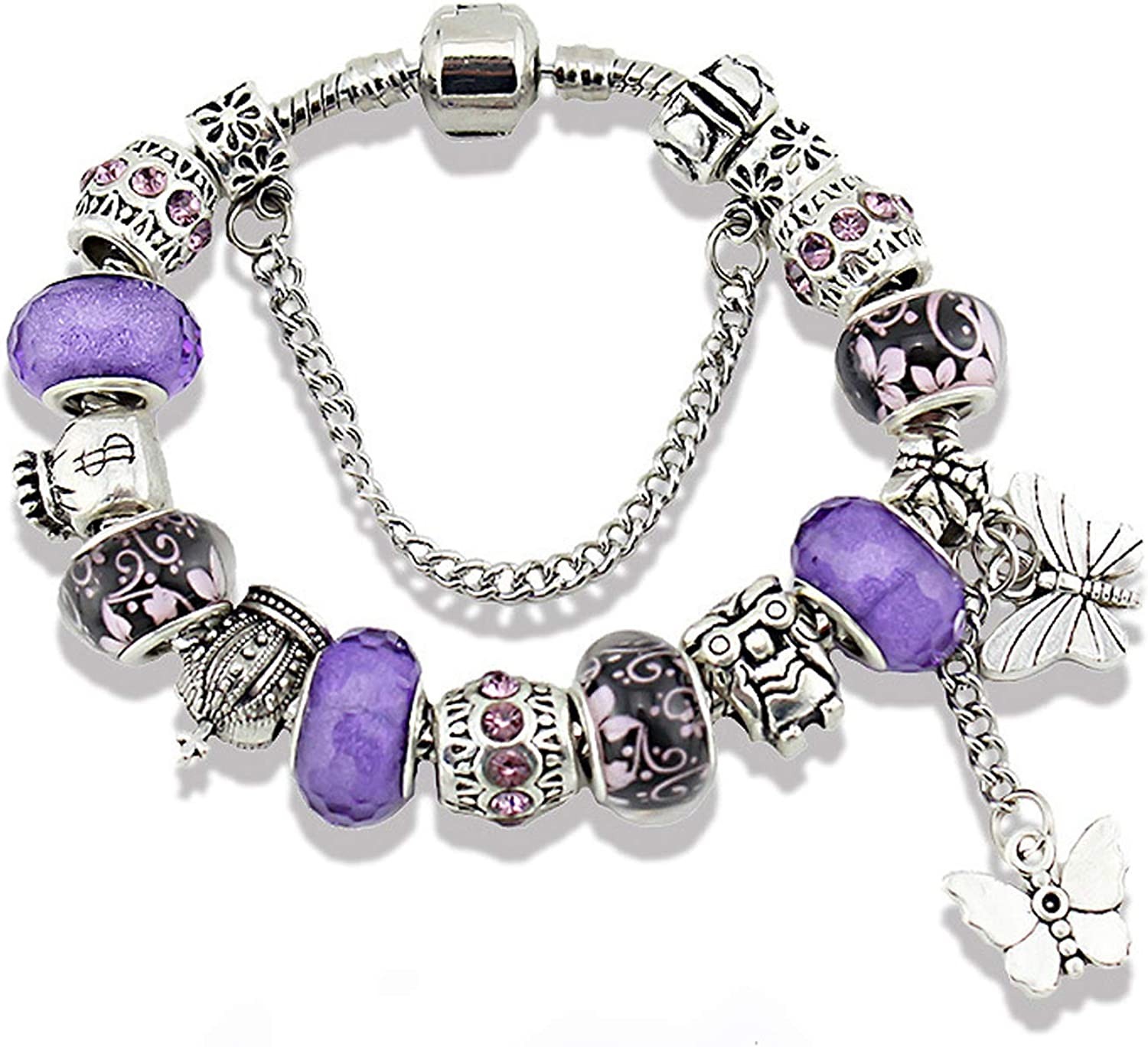 Unicorns Gifts for Girls Charms Bracelet for Girls and Women Murano Glass Beads Butterfly Flower Charms Bracelets