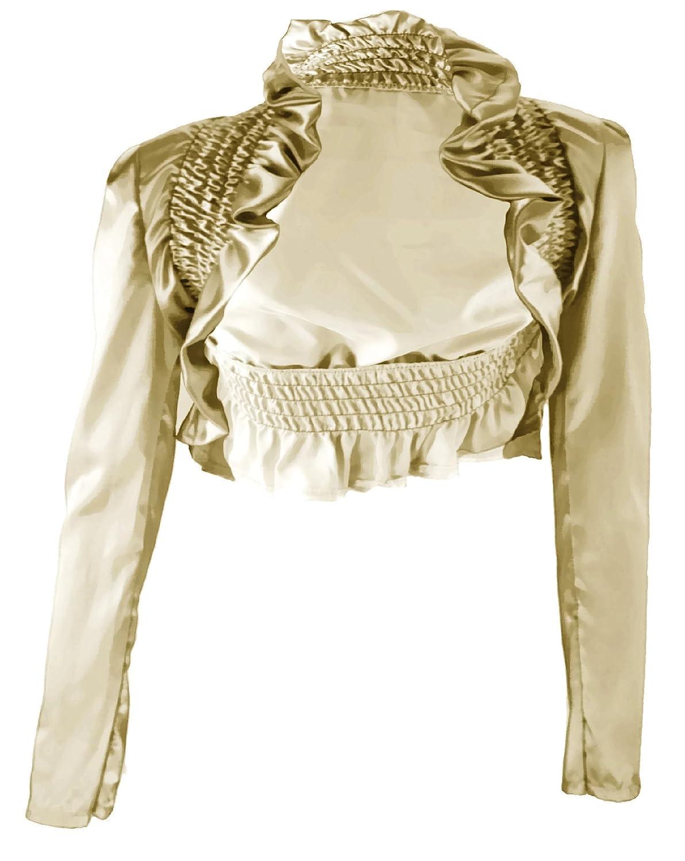 #901 Damen Luxus Satin Bolero Abendkleid langarm Jäckchen Jacke Farben Schwarz Weiss Gold Pink 36 38 40