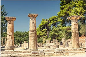 LFEEY 5x3ft Antique Greece Sanctuary Pillar Photography Backdrop Ancient Greek Ruins Olympia Historic Building Column Photo Background Travel Photo Booth Props