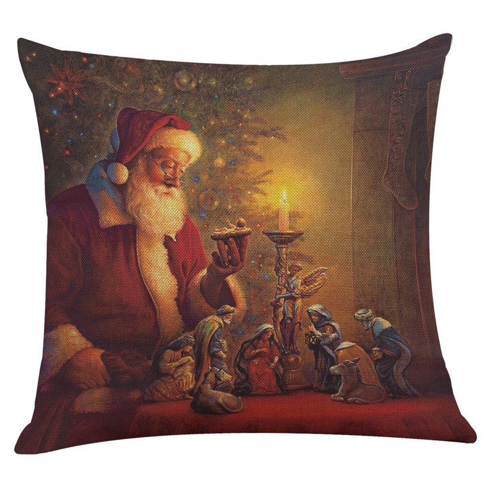 New Christmas Santa Cotton Linen Pillow Case Sofa Cushion Cover Home Decor Holiday Throw Pillows HunYUN