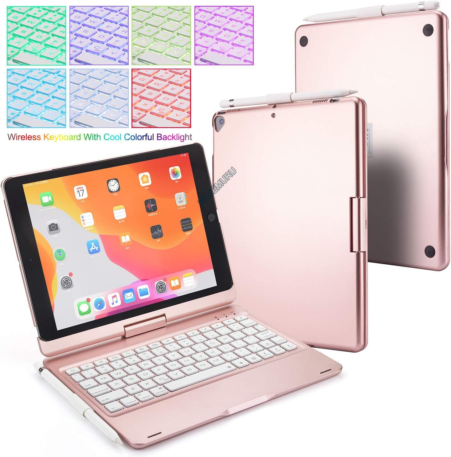 BECEMURU Funda para Teclado iPad 10.2 7 Colores Retroiluminación Teclado Bluetooth Soporte Giratorio de 360 ° Funda de aleación de Aluminio y ABS ...