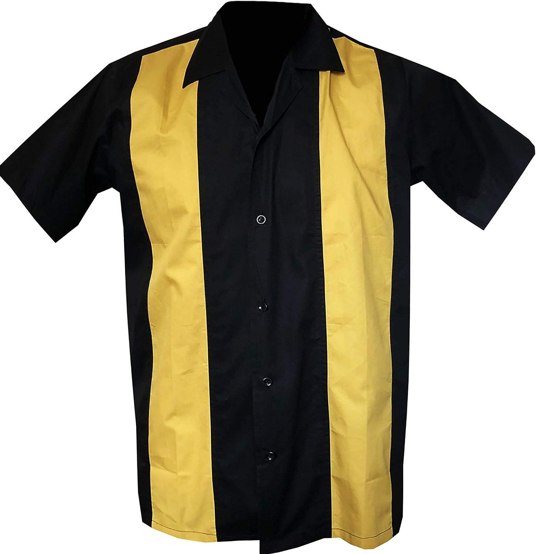 Vintage Yellow Rockabilly Men\u2019s Shirt Button Up Bowling Hawaiian Vacation Van Heusen