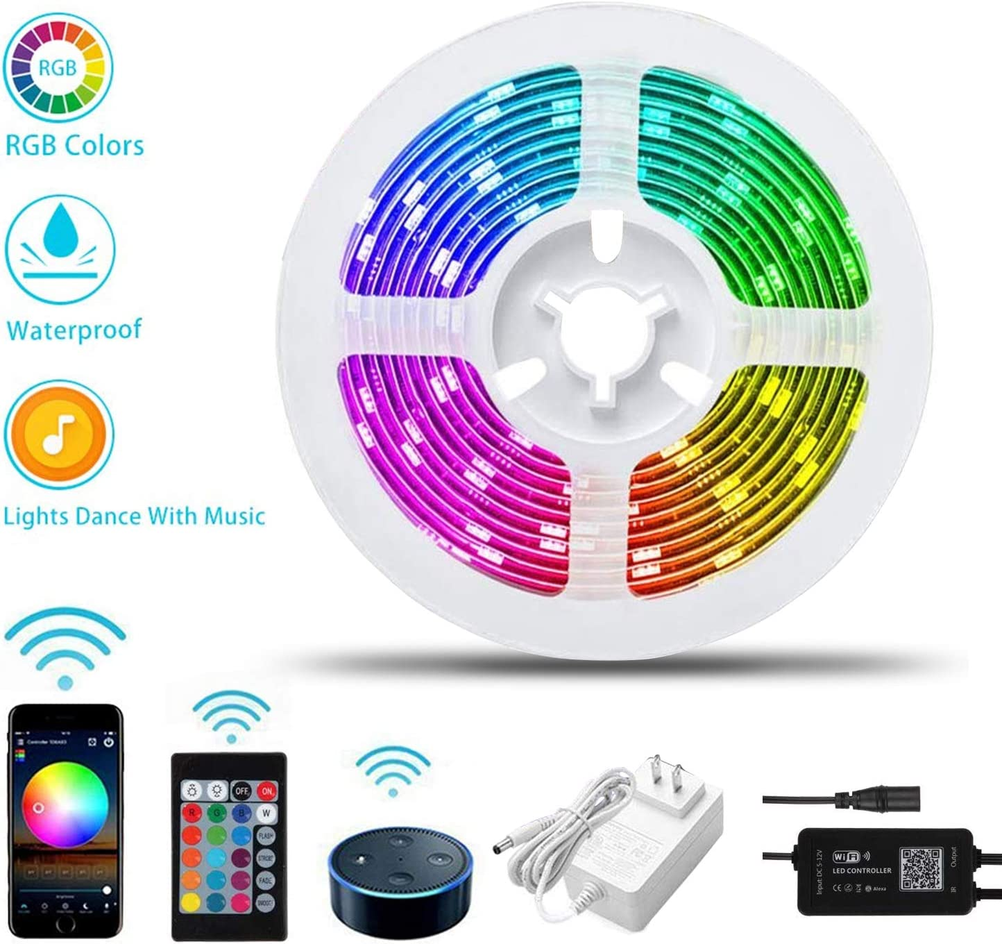 LED Strip Lights, PATIOPTION 16.4ft Waterproof WiFi Works with Alexa, Google, App Controlled Music Sync RGB 5050 LED Tape Lights, Color Changing with Remote for iOS and Android, Bedroom, Home Decor