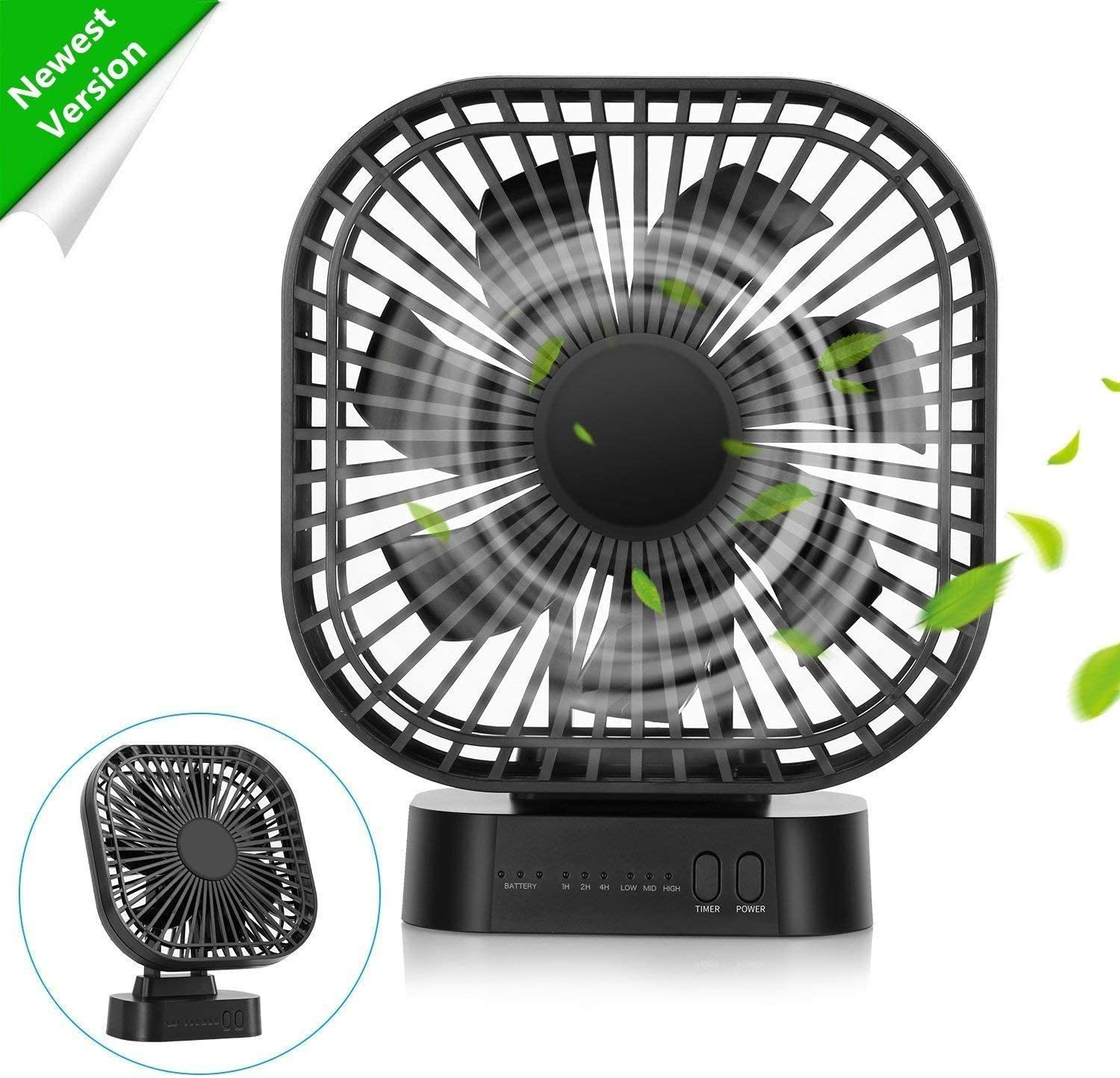 50000mAh Portable Fan with Magnet Base, Battery Operated Desk Fan with Timer, 3 speeds, 7 Blades, Super Quiet, Powered by USB or Rechargeable Battery, Small Personal Fan for Table & Outdoor