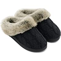 028635e73b20 Women s Soft Yarn Cable Knitted Slippers Memory Foam Anti-Skid Sole House  Shoes w