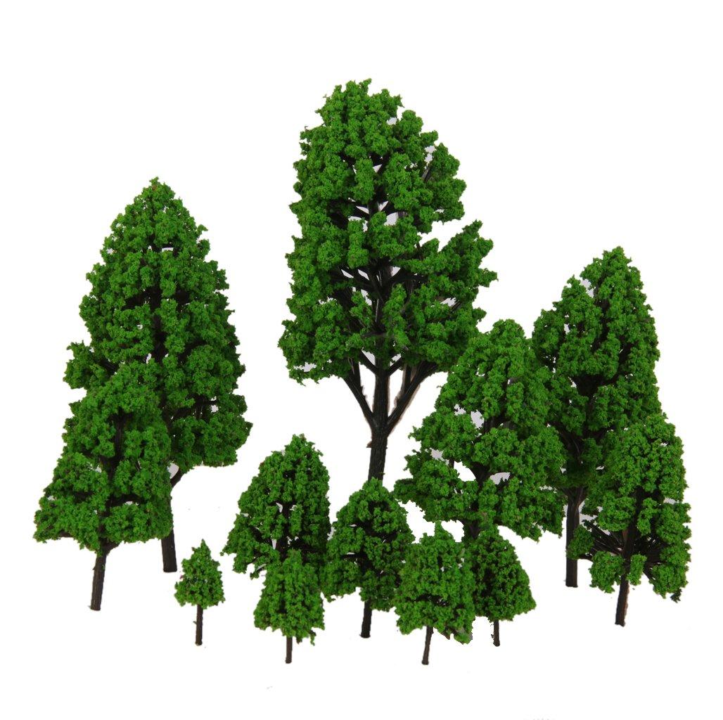 12pcs Laisse Peupliers Modele Feu Vert 2.5-16cm 1: 500-1: 50