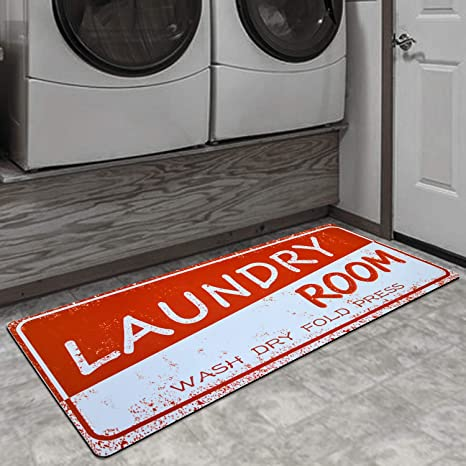 Amazon Com Ustide Cushioned Laundry Room Rug Red White Kitchen Decor Anti Skid Sink Porch For Dish Machine Holiday Carpet 51x122cm Dining