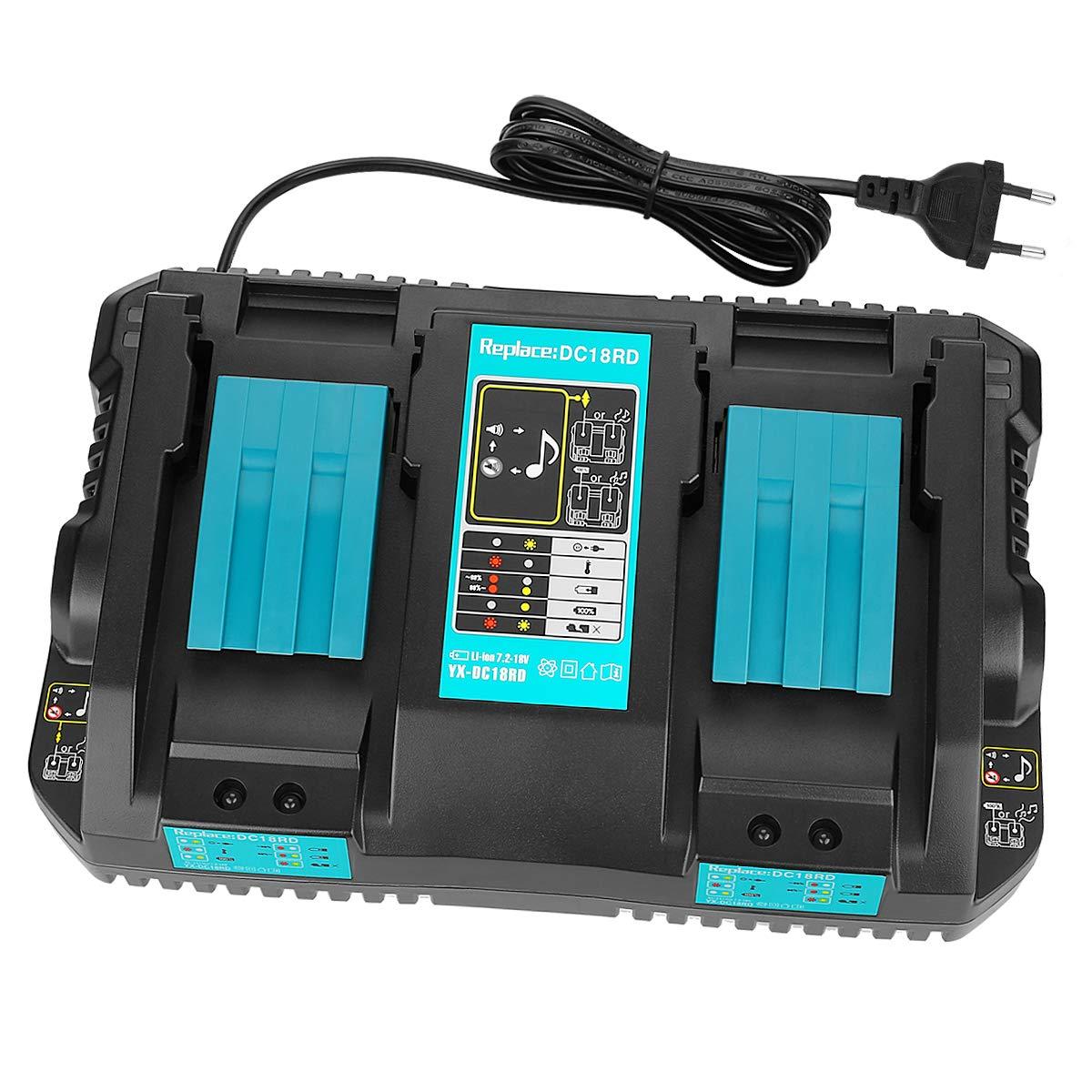 OPSON 4A Chargeur Double Port DC18RD Chargeur pour Makita 7.2V ~ 18V BL1815 BL1830 BL1840 BL1850 BL1860 BL1430