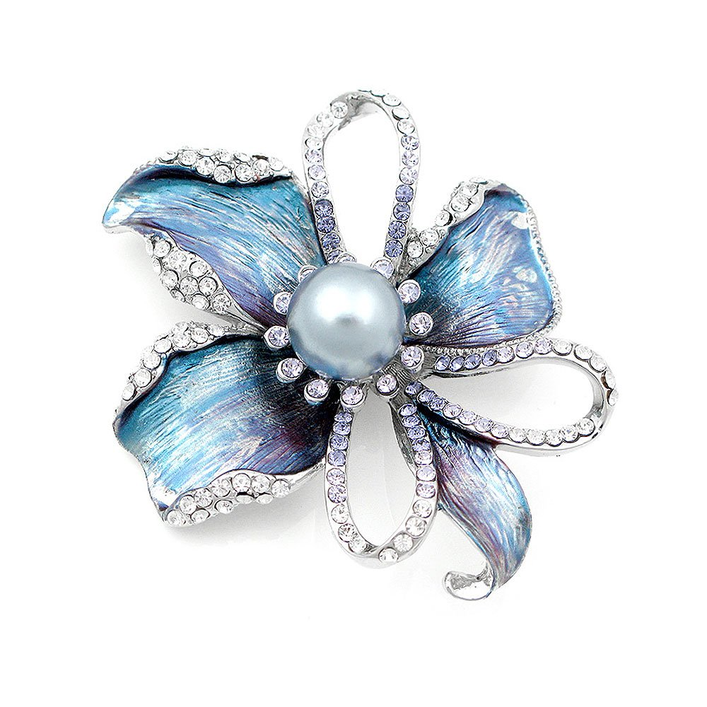 Flower Brooch with Silver Austrian Element Crystal and Grey Fashion Pearl (4668)