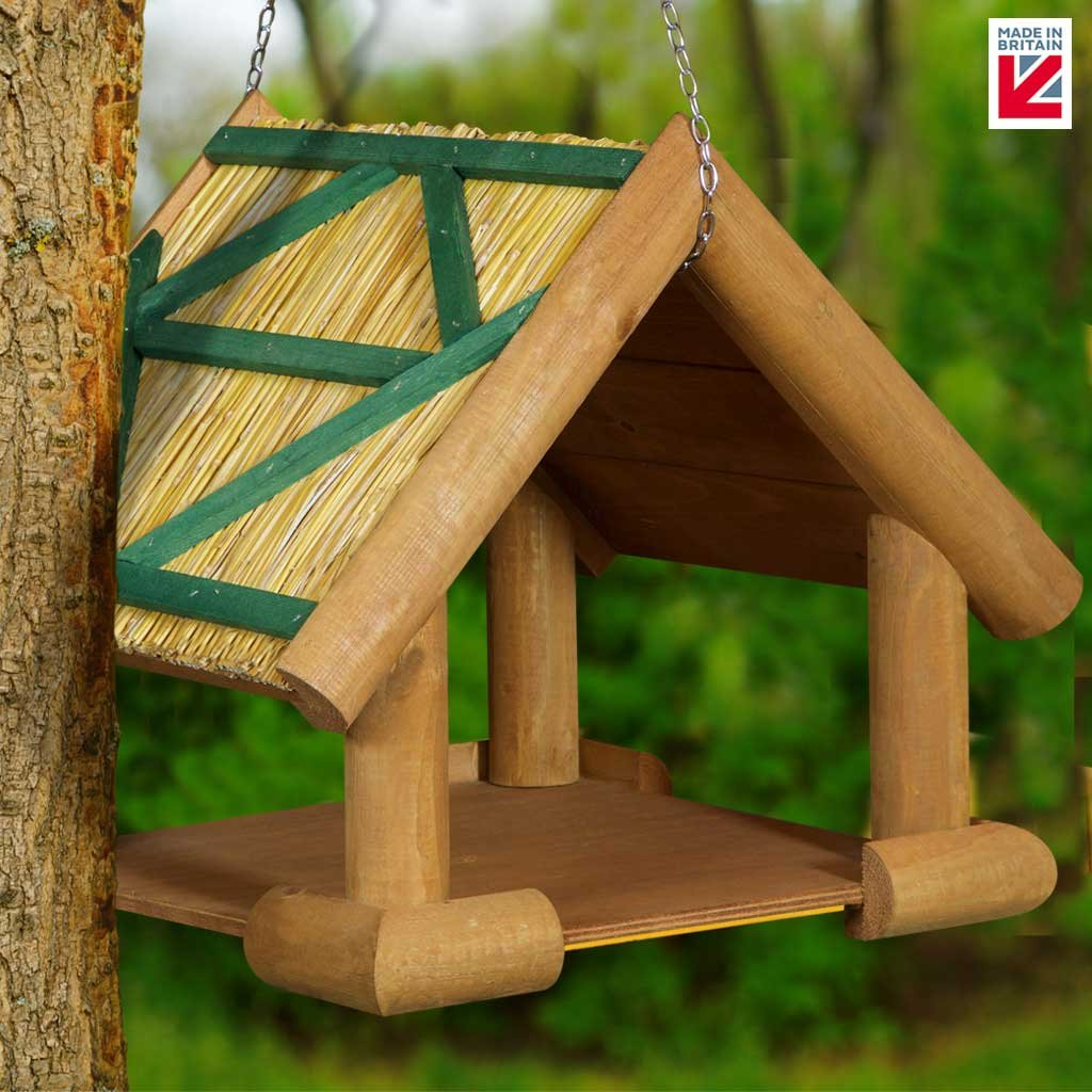 The Hutch Company Rustic Thatched Hanging Bird Table Amazoncouk
